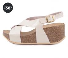 Akce - Béžové dámské sandály na klínku OJJU