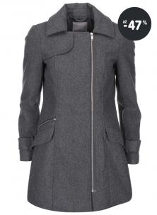 Šedý zimní kabát se zipem Vero Moda