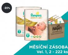 Akce Pampers Premium Care Plenky Velikost 1, 2 - 222 ks (sleva 20%)