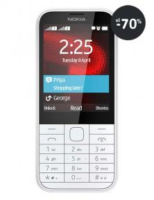 Klasický telefon / mobil Nokia 225 v bílé barvě