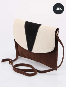 Levná kabelka - Krémovo-hnědé kožené psaníčko OJJU (sleva 35%)