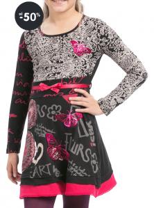 Šaty dívčí se vzorem Yamusukro / černo-šedé