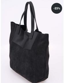 25% sleva kabelka černá kožená Pieces Debbi