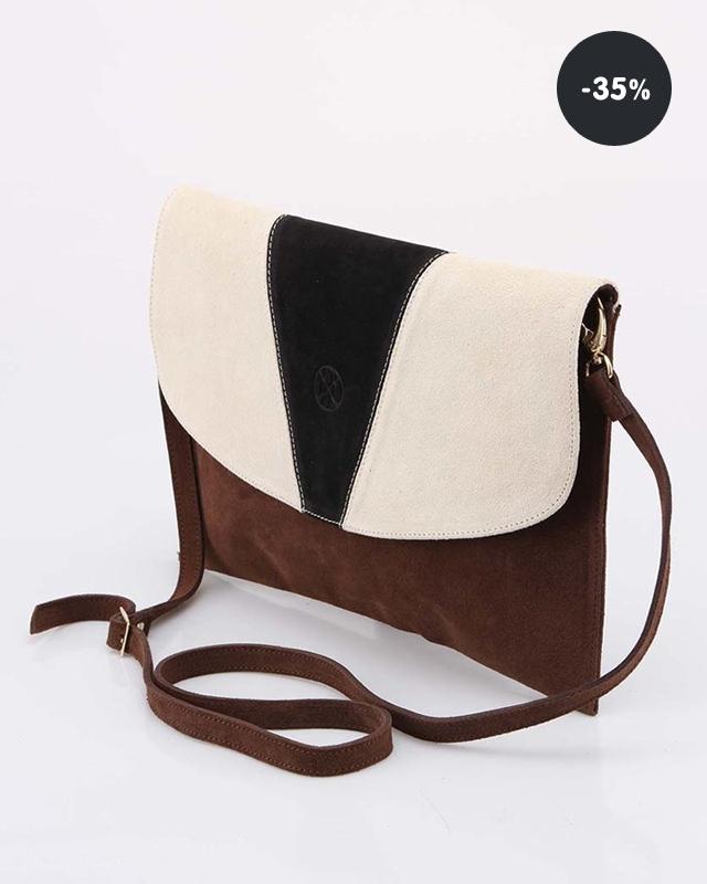 ... Levná kabelka - Krémovo-hnědé kožené psaníčko OJJU (sleva 35%) ... 398db88a456