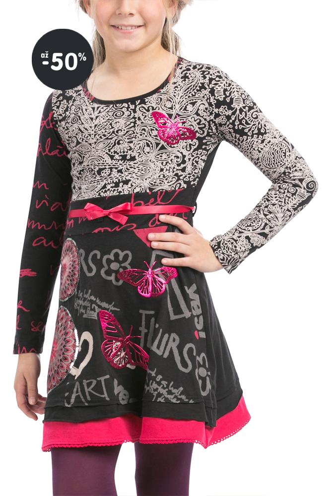 c59de5faf31d ... Desigual tričko dívčí růžové Šaty dívčí se vzorem Yamusukro    černo-šedé ...